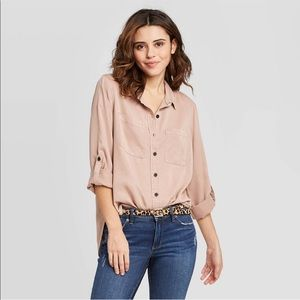 Universal Thread Long Sleeved Button Down Pink S